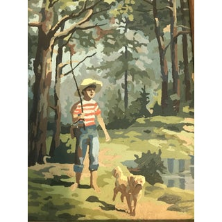 Vintage Forest Scene Painting by Number For Sale