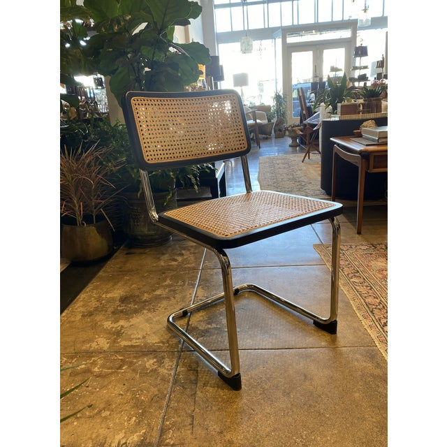 Mid-Century Modern Set of 4 Black Cane Armless Dining Chairs For Sale - Image 3 of 4