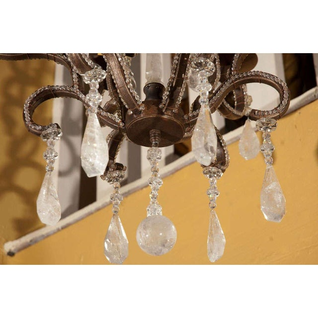 1980s Six-Light Iron and Rock Crystal Chandelier For Sale In Los Angeles - Image 6 of 8