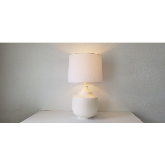 Jacques Grange Style Flat White Glazed Table Lamp. For Sale - Image 10 of 11