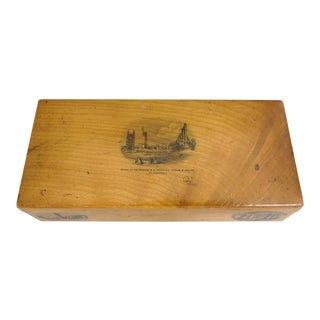 Antique Fruit Wood Mauchline Rectangular Box of St. Andrews, Scotland With 3 Transfers For Sale