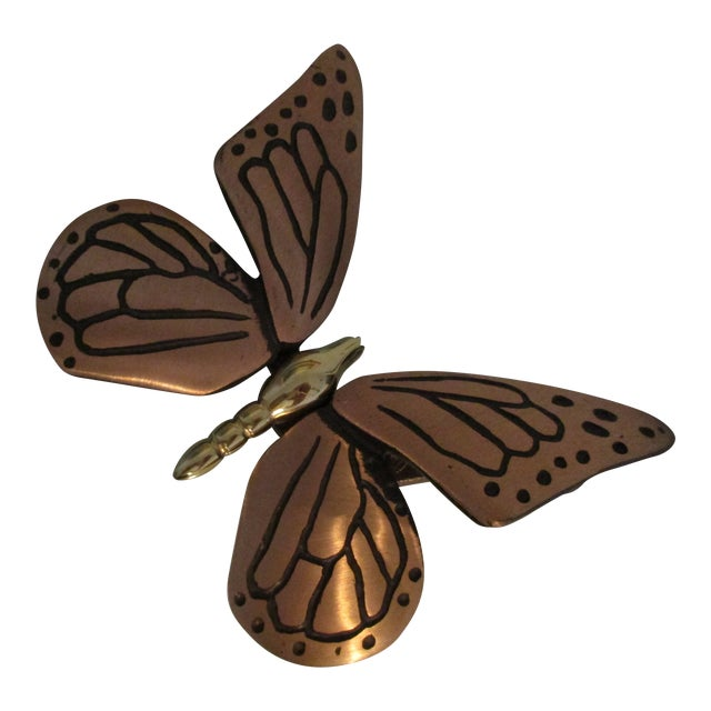 Bronze and Brass Monarch Butterfly Door Knocker For Sale