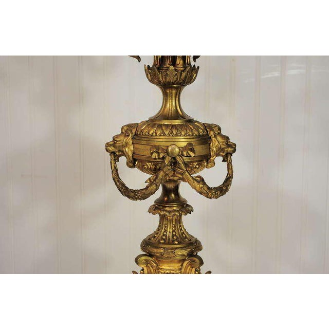 19th Century Figural French Louis XV Style Gilt Bronze Lion Candelabra Table Lamp For Sale In Philadelphia - Image 6 of 11