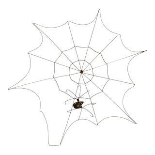 Vintage brass spider and spiderweb For Sale