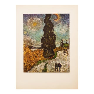 "1950s Van Gogh, First Edition Vintage Lithograph ""Road With Cypresses"" For Sale"