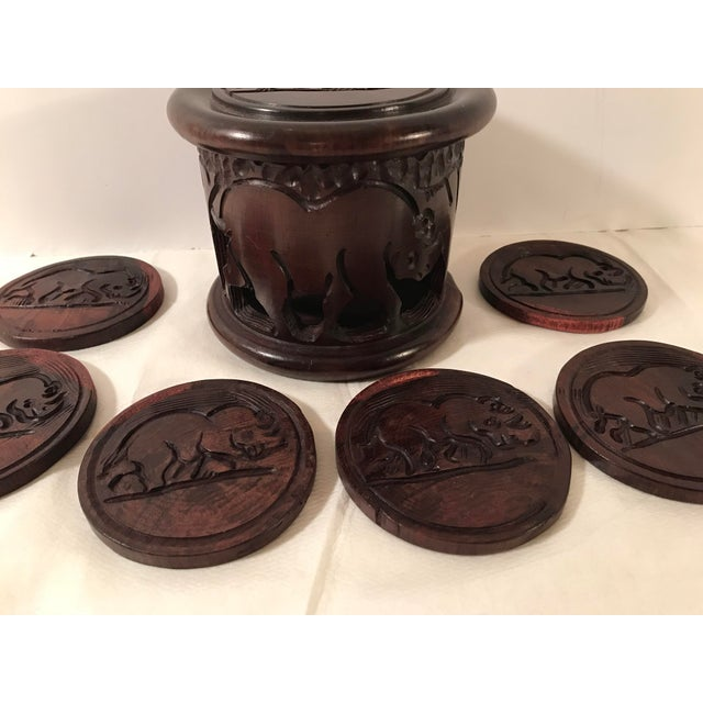 Mid 20th Century 20th Century Safari Wooden Carved Rhino Coaster Set - 8 Pieces For Sale - Image 5 of 13