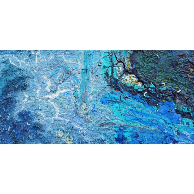 Blue Large Art Impasto Texture by Listed Artist Kohlem For Sale - Image 8 of 13