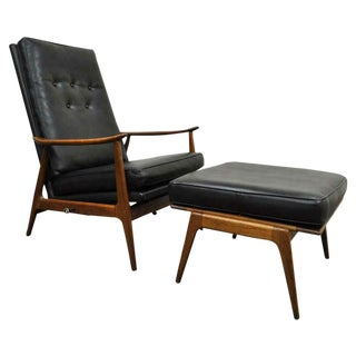 1950s Vintage Lounge Chair & Ottoman For Sale