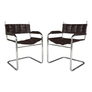1970s Vintage Leather and Chrome Cantilever Chairs - A Pair For Sale