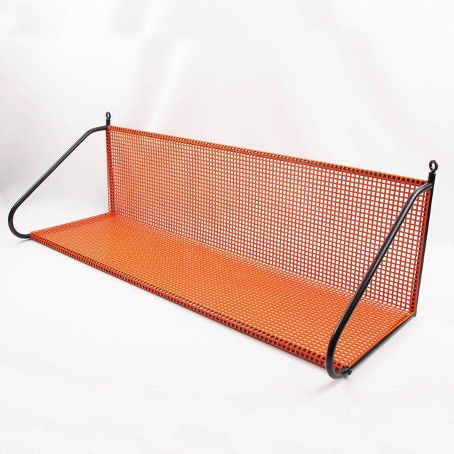 Orange Mathieu Mategot Style Orange Perforated Metal Wall Bookshelf For Sale - Image 8 of 8