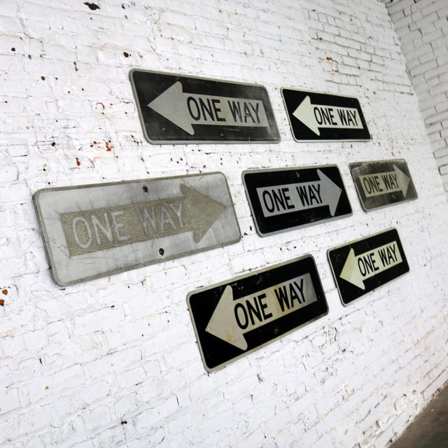 Vintage Metal One Way Arrow Signs For Sale - Image 4 of 13