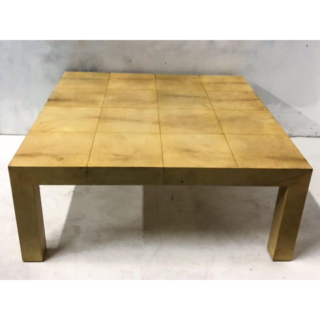 1970s Karl Springer Modern Lacquered Goatskin Coffee Table For Sale - Image 5 of 5
