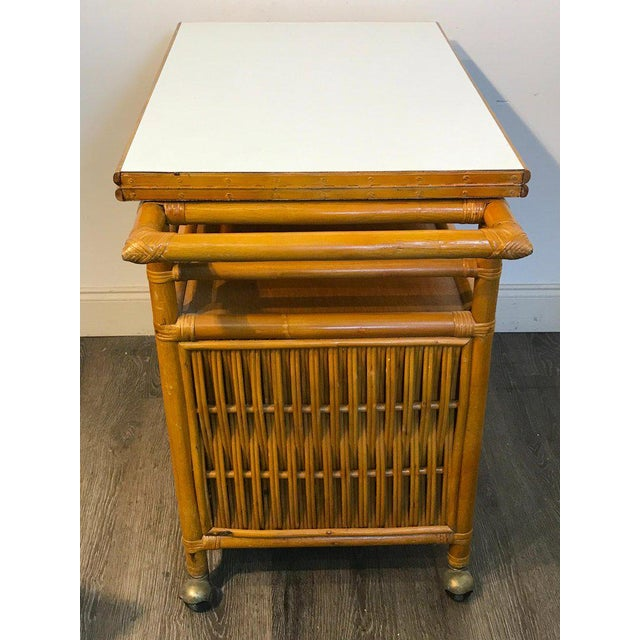 Midcentury Rattan Expandable Bar Cart For Sale - Image 10 of 13