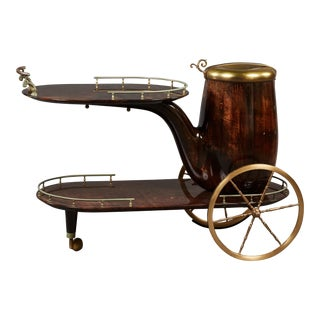 Charming Aldo Tura Bar Cart For Sale