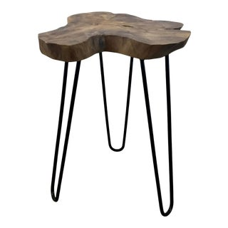 Industrial Modern Teak Tree Trunk Slice and Iron Accent Table For Sale