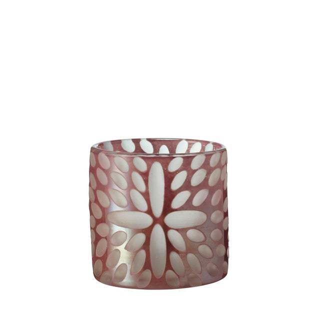 Transitional OKA Bukva Glass Candle Holder in Pink For Sale - Image 3 of 3