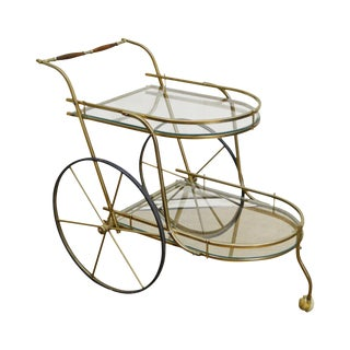 Mid-Century Italian Brass & Glass Rolling Server Bar Tea Cart