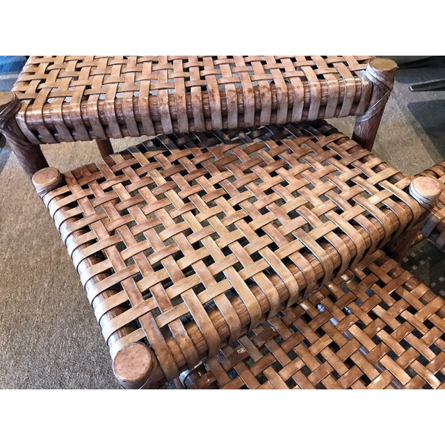 1980s Rustic Modern McGuire Rattan and Laced Leather Nesting Tables or Stools - Set of 4 For Sale - Image 9 of 12