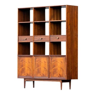 Rare Mid Century Modern Drexel Declaration Large Walnut Room Divider Bookshelf by Kipp Stewart Double Sided For Sale