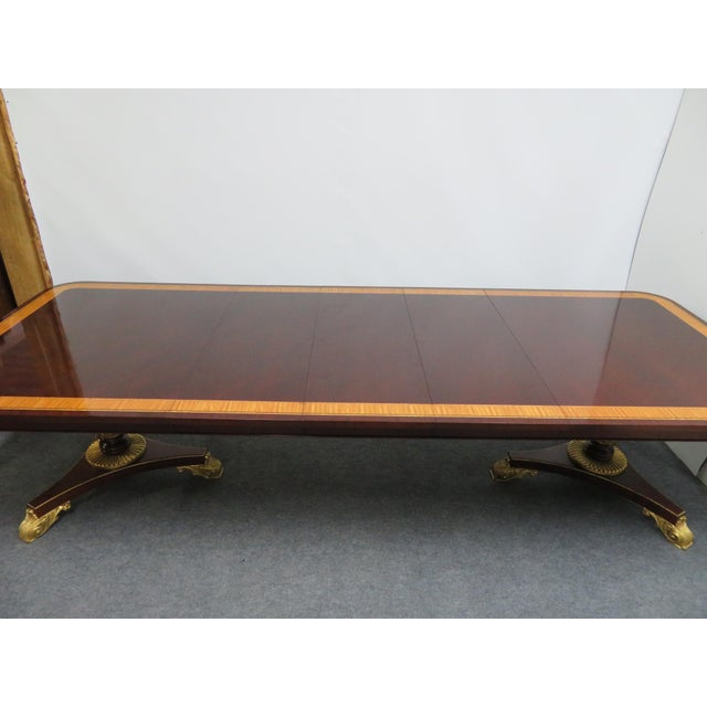 Early 21st Century Regency Baker Furniture Company Banded Mahogany Dining Table For Sale - Image 5 of 12