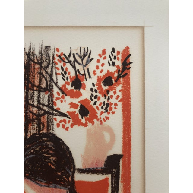 Printmaking Materials Lady in an Interior Color Woodcut 1960s For Sale - Image 7 of 9