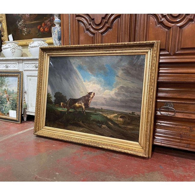 19th Century French Oil on Canvas Cow Painting in Carved Gilt Frame For Sale In Dallas - Image 6 of 13