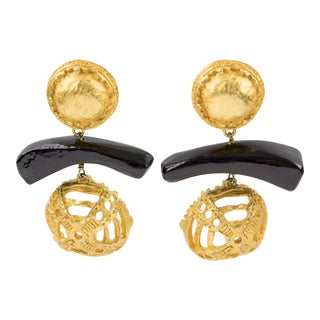 Christian Lacroix Dangle Tribal Clip Earrings For Sale