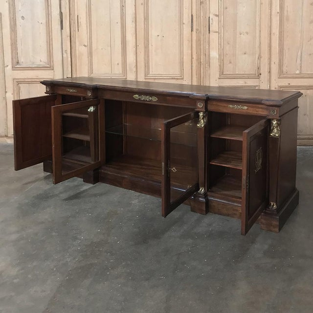 Empire 19th Century French Empire Mahogany Credenza With Bronze Ormolu For Sale - Image 3 of 12