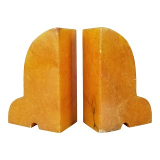 Italian Vintage Bright Orange Marble Bookends - a Pair . For Sale