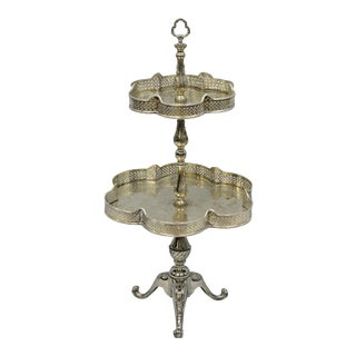 Regency Style 2 Tier Silver Plated Dessert Tray Stand Platter For Sale