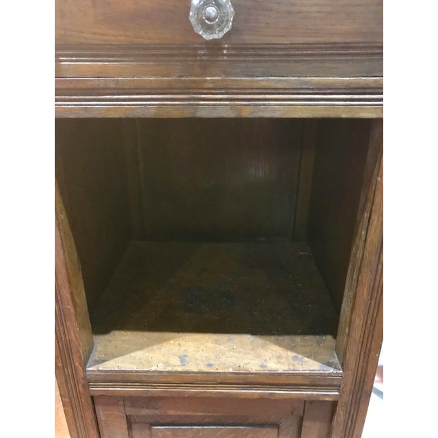 Early 20th Century Antique Oak With Marble Top Pot Cupboard For Sale -  Image 5 of - Antique Oak With Marble Top Pot Cupboard Chairish
