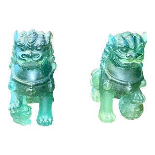 Foo Dogs in Pate De Verre by Daum - a Pair For Sale