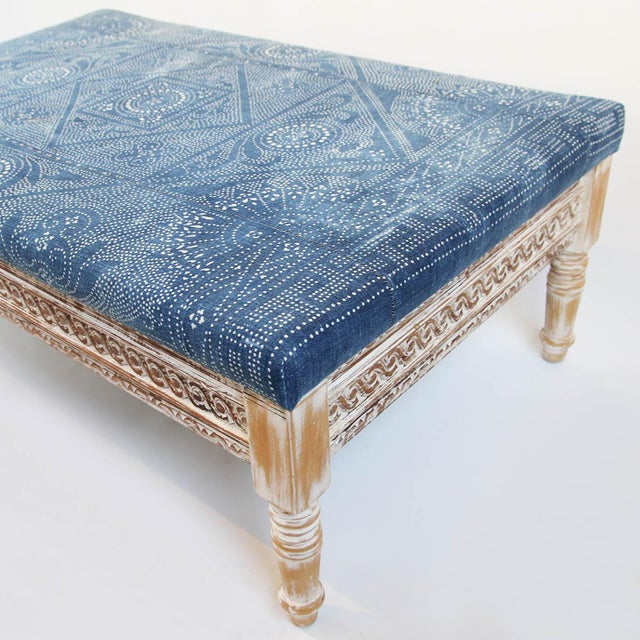 Boho Chic Indigo Dot Upholstered Ottoman For Sale - Image 3 of 4
