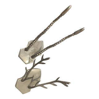 Wall Mounted Silver Antlers - a Pair For Sale