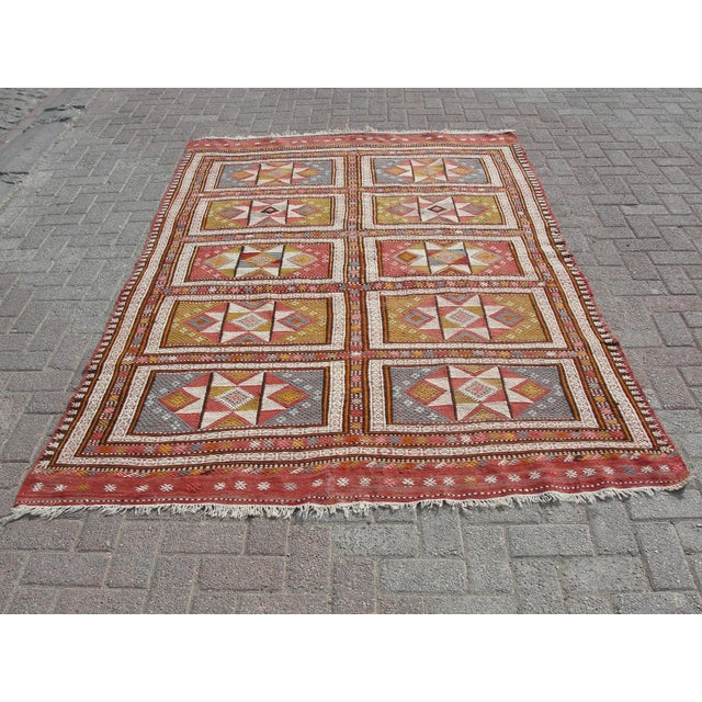 "Vintage Turkish Kilim Rug - 65.5′″ × 97"" For Sale - Image 13 of 13"