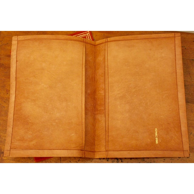 Red Gold Stamped Moroccan Leather Book Covers - A Pair For Sale - Image 8 of 11