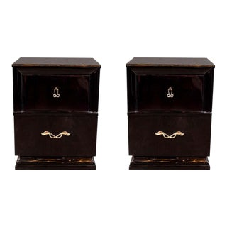 Mid Century Ebonized Walnut End Table Nightstands with Sculptural Nickeled Pulls - a Pair For Sale