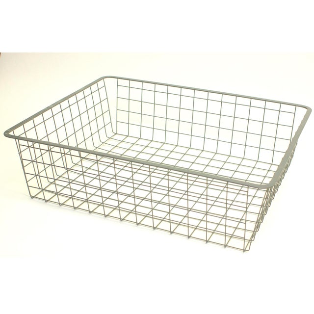 Industrial Vintage Wire Storage Crate For Sale - Image 3 of 4