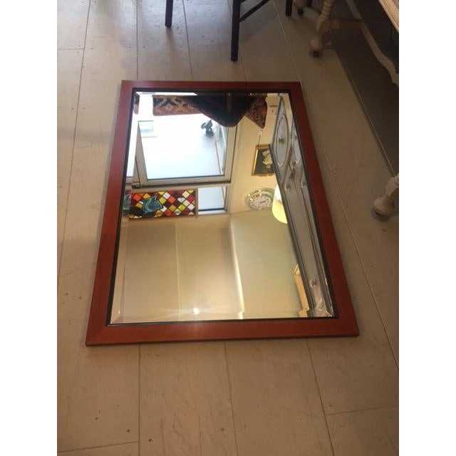 Custom Made Mahogany Framed Beveled Wall Mirror For Sale - Image 5 of 10