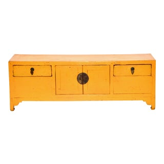 Yellow Lacquered Chinese Low Chest