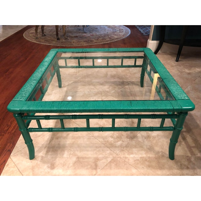 Emerald Green Bamboo Rattan Coffee Table For Sale - Image 11 of 11