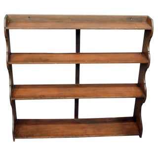 19th Century Early American Walnut/Pine Hanging Shelf For Sale