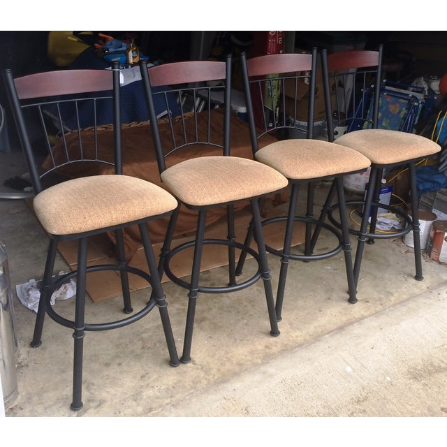 Swivel Metal Bar Stools With Cushion - Set of 4 - Image 4 of 7