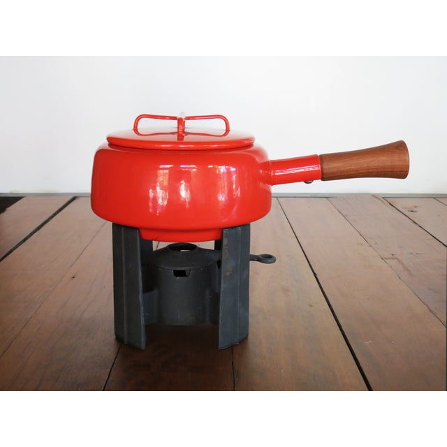 Dansk Kobenstyle Red Enamel Fondue Pot For Sale - Image 11 of 11