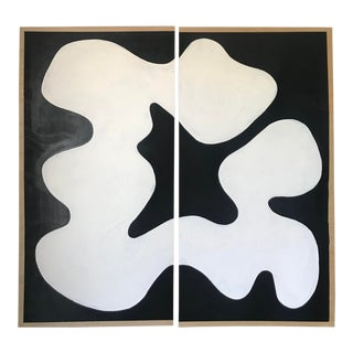 Flow Black and White Abstract Diptych For Sale