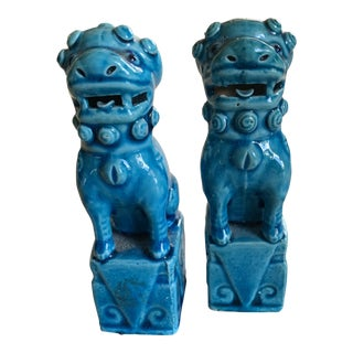 Ceruelan Ceramic Porcelain Foo Dogs - a Pair For Sale
