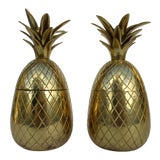 Image of Vintage Brass Lidded Pineapple Containers Dual Candle Holders - a Pair For Sale