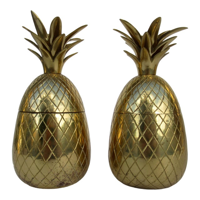 Vintage Brass Lidded Pineapple Containers Dual Candle Holders - a Pair For Sale