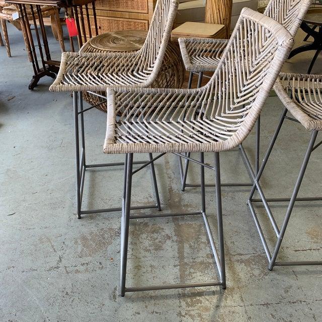 Wood Vintage White Washed Rattan Barstools - Set of 4 For Sale - Image 7 of 10