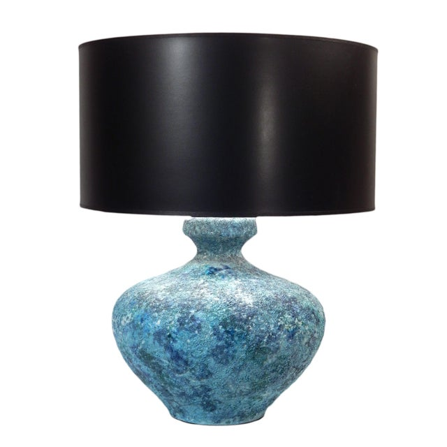 Contemporary Mid-Century Ceramic Turquoise Table Lamp For Sale - Image 3 of 10